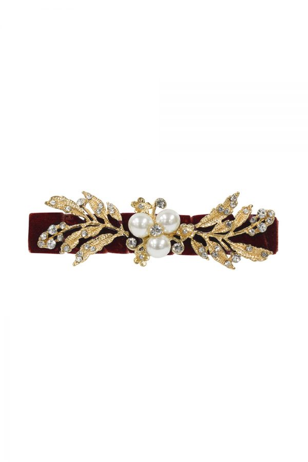 wine pearl party hair clip