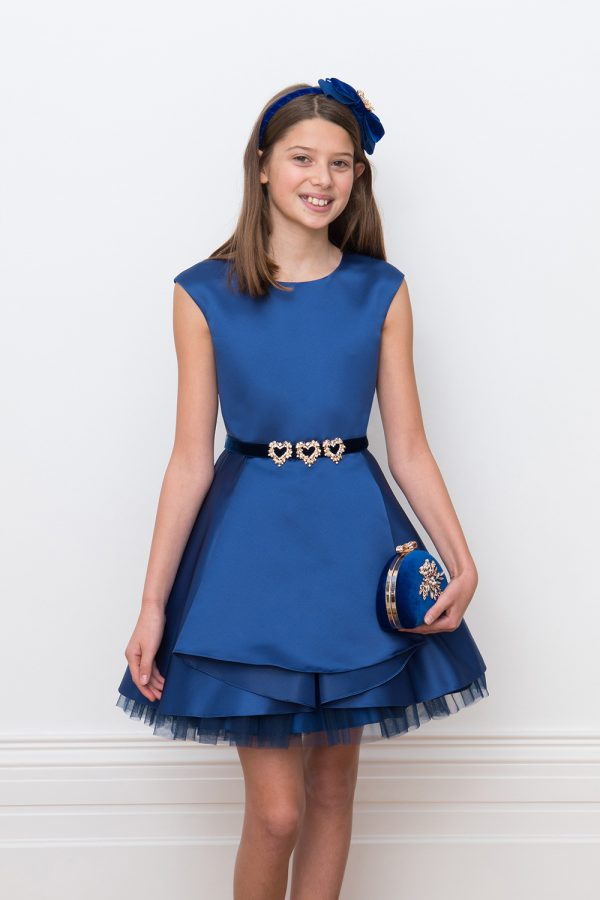 royal blue satin party gown