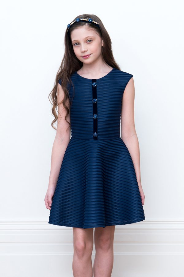 navy sparkle bodice dress