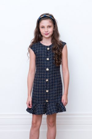 navy tweed frill dress