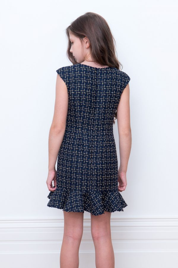 navy tweed frill dress