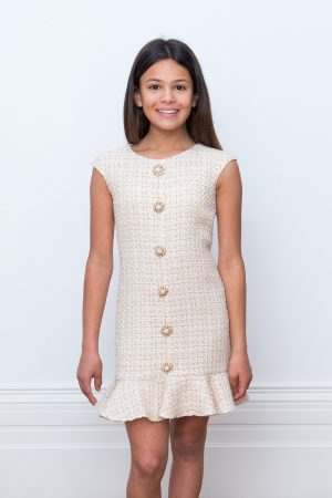 ivory tweed frill dress