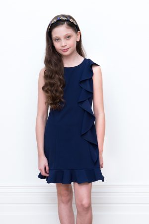 navy asymmetric frill dress