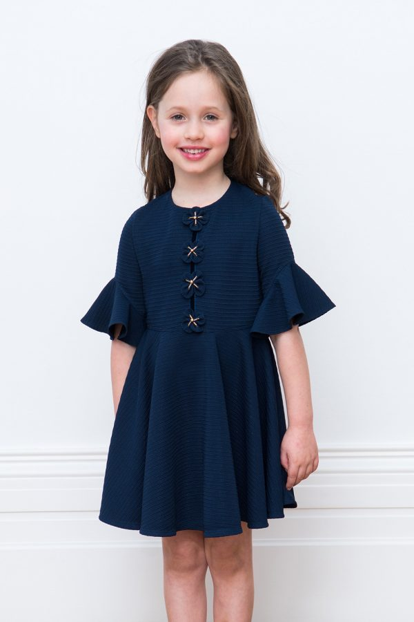 navy flower birthday dress
