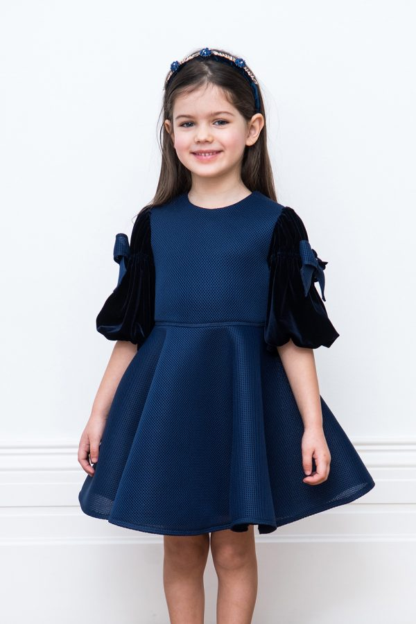navy luxe velvet party gown