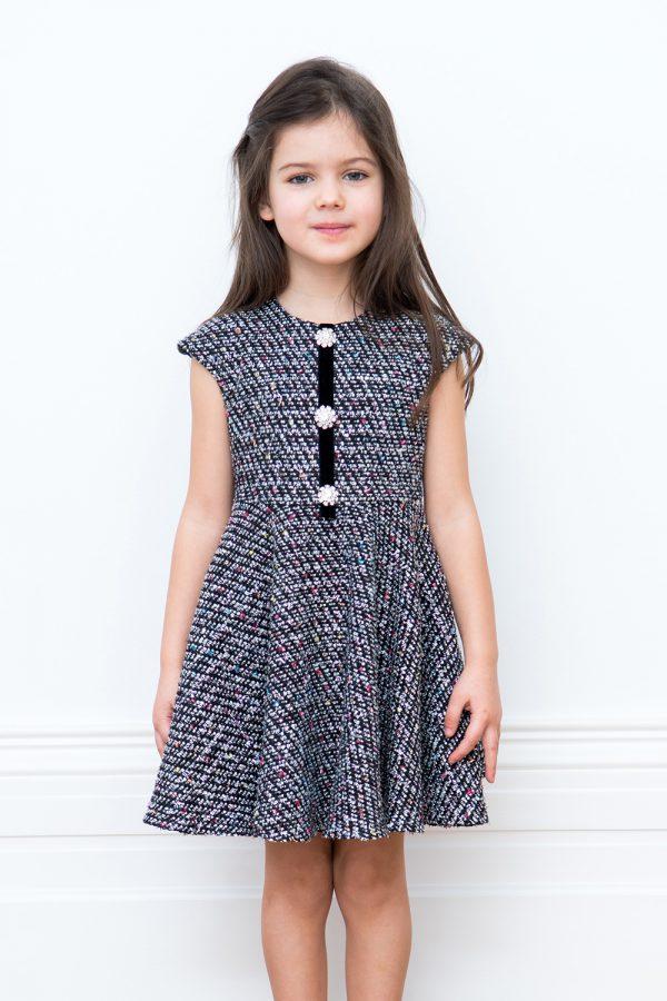 embellished black tweed dress
