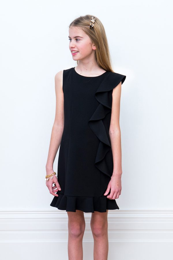 black asymmetric frill dress