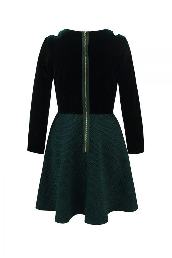 festive green velvet dress