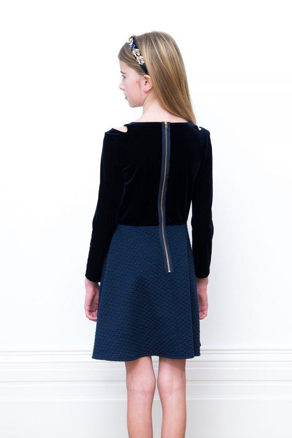 navy blue velvet dress