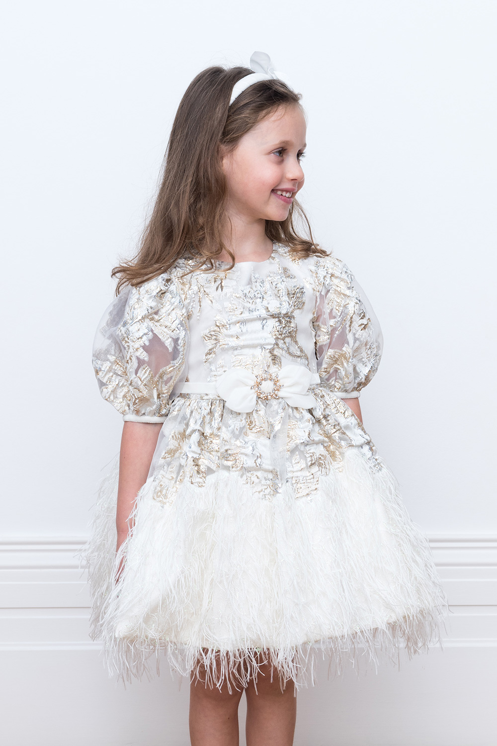 ivory confetti gown