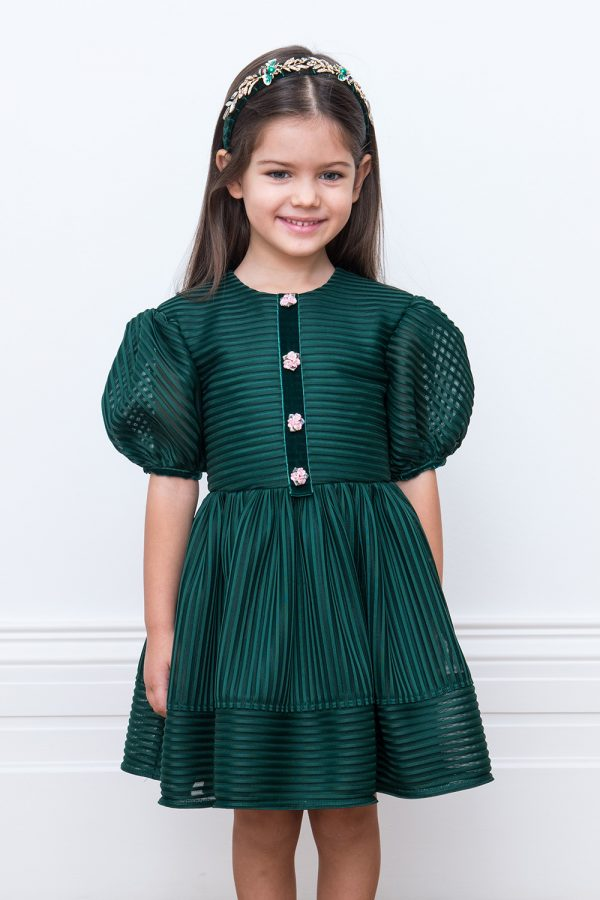 green deluxe party gown