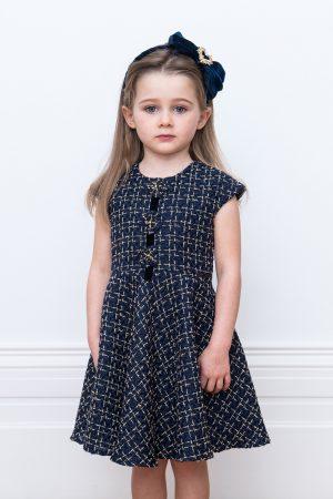 navy check tweed dress