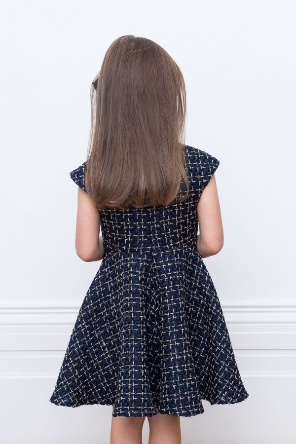 navy check tweed dress