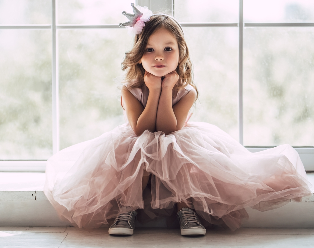 little girl in princess dress