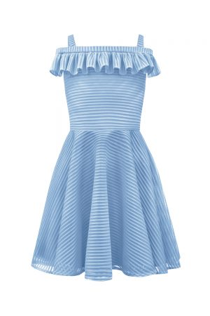 cornflower blue Bardot dress