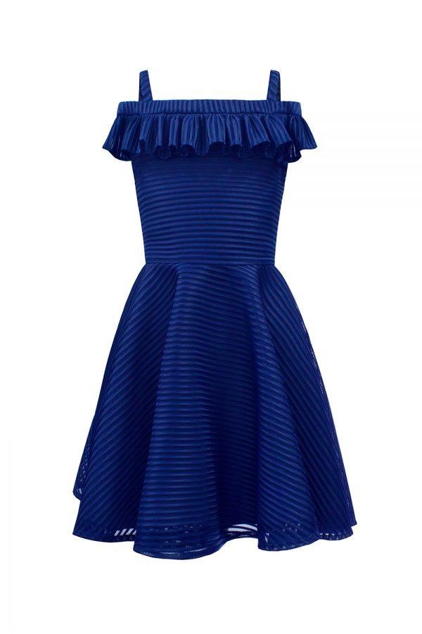 royal blue shoulder strap dress