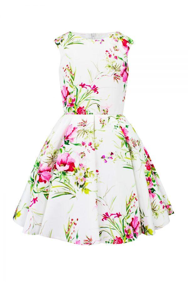 ivory floral tea dress