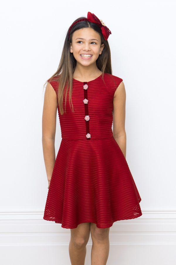 wine floral trim dress