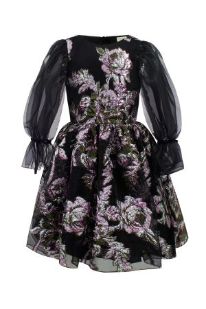 black winter floral dress