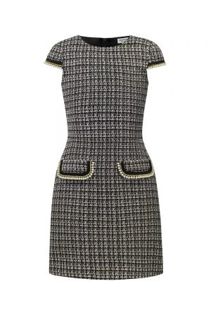 black tweed pearl shift dress