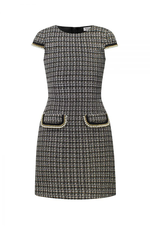 black tweed pearl shift dress
