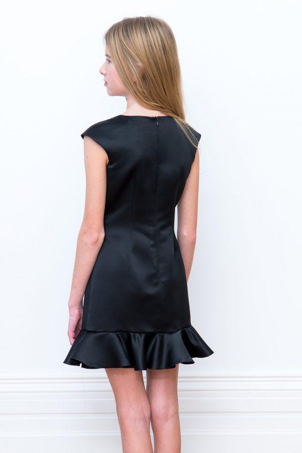 black satin peplum hem dress