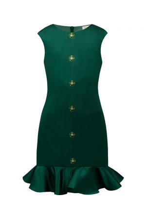 green satin party dress