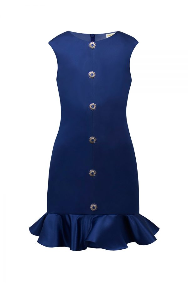 royal blue satin peplum dress
