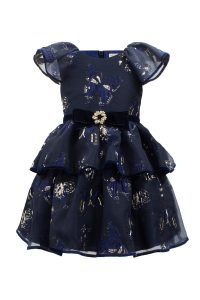 Embed Navy Butterfly Tea Dress