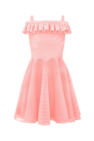 pink stripe Bardot dress