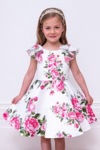 ivory floral bridesmaid dress