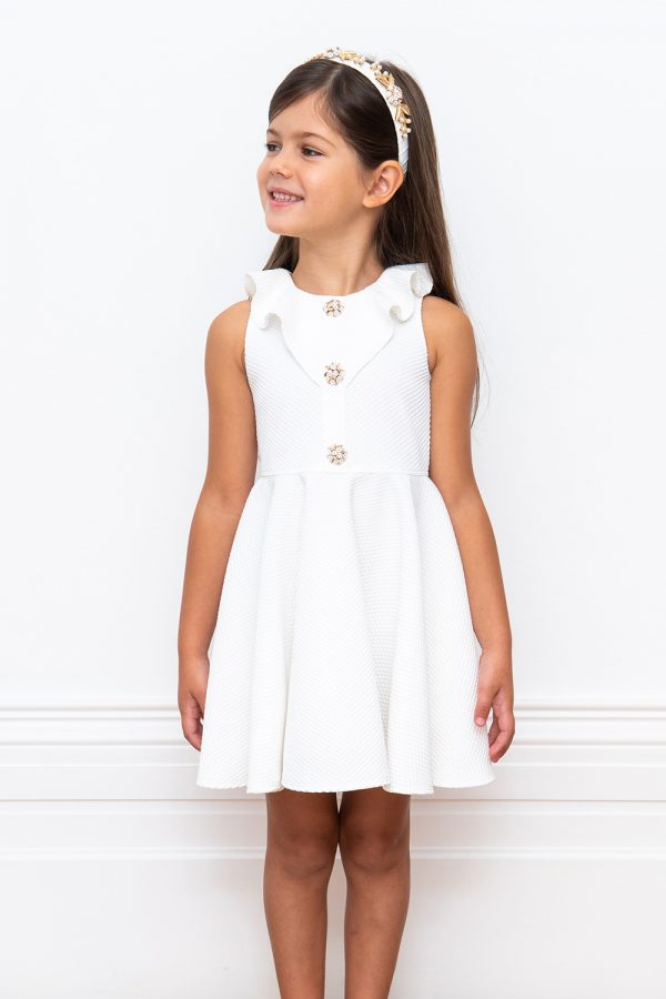 embellished ivory frill dress