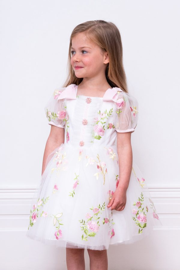 ivory and pink flower girl gown