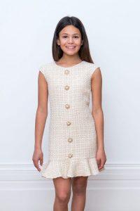 Ivory Tweed Frill Dress