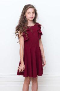 Wine Ruffle Formal Dress