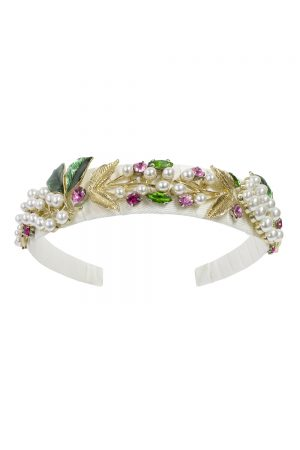 ivory pearl floral hair band