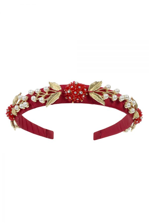 rose red pearl Alice band