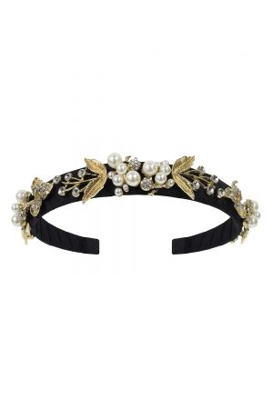 black and ivory pearl Alice band