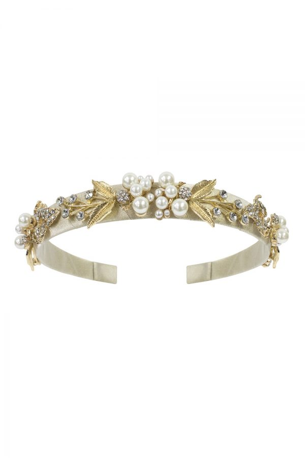 gold floral hair band