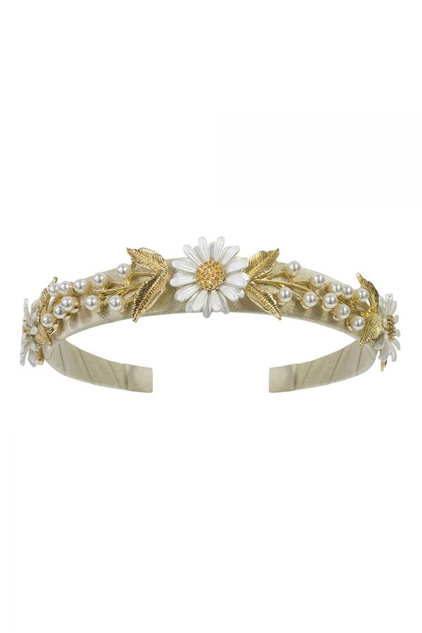gold daisy and pearl Alice band