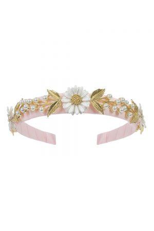 pink daisy and pearl hair band
