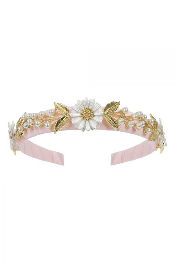 pink daisy and pearl hair band