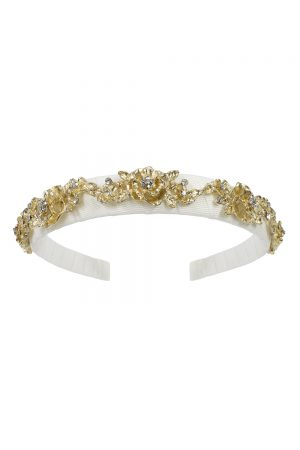 ivory and gold floral hair band