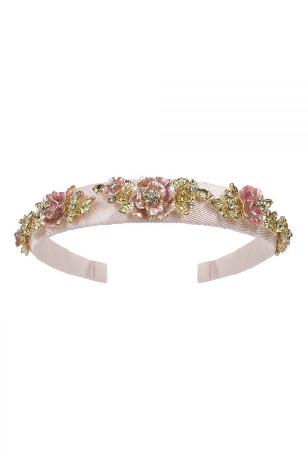 pearl pink floral Alice band