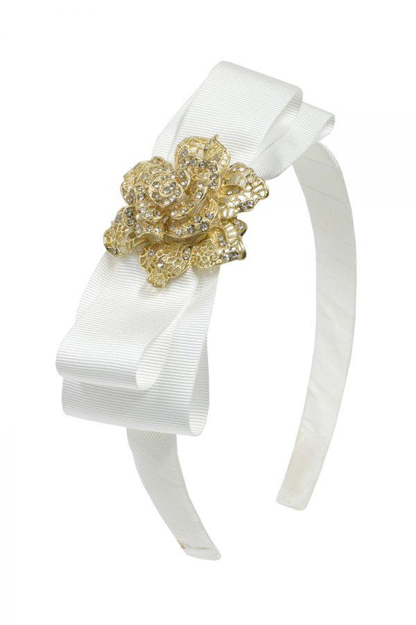 ivory rose motif hair band