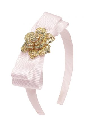 pastel pink rose hair band