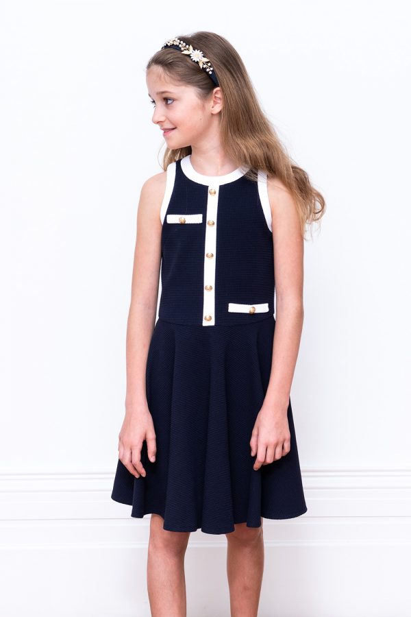 navy and white party dress