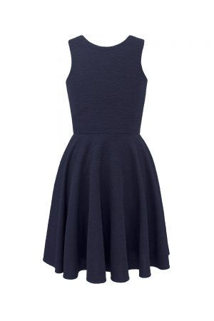 navy blue tie back dress