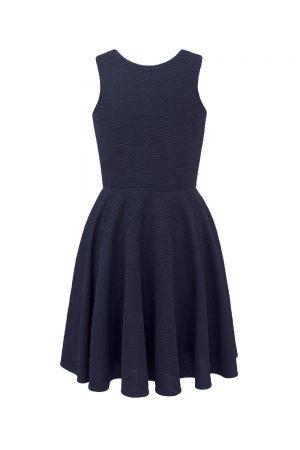 navy blue tie back dress
