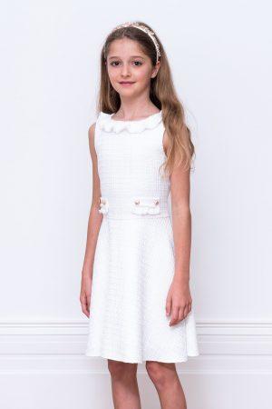 ivory tweed bridesmaid gown